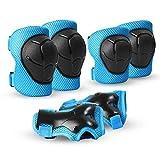 Skybulls キッズプロテクター 保護パッド スポーツプロテクター 子供用 手の甲/肘/膝 サポーター 6点セット収納袋付き(ブル)