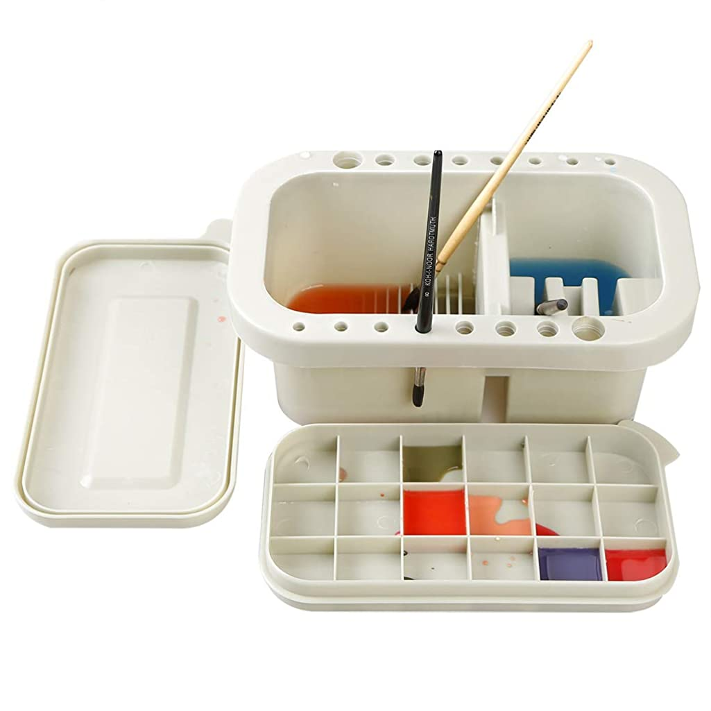 Paint Brush Basin Multifunction Paint Brush Tub Square Brush Washing Bucket?Pen Brush Washer Cleaner Artist Brush Basin Art Supplies Brush Holder Brush Cleaner Container with Brush Holder Palettes