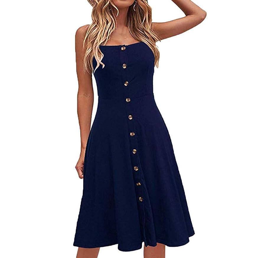 Sagton Plus Formal Dress Women Casual Button Dress Sleeveless Loose Party Long Dress
