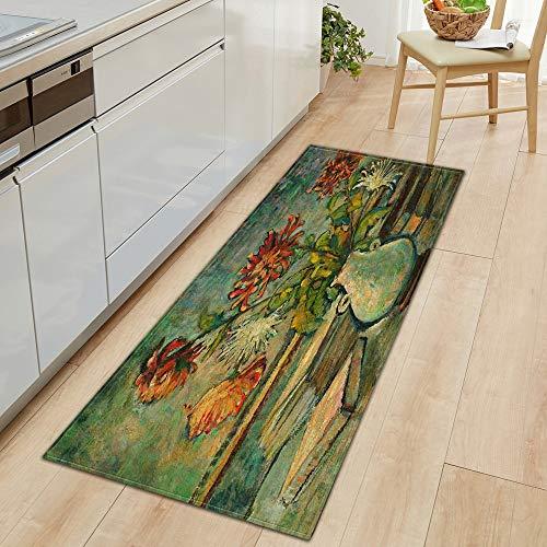 OPLJ Alfombra de Cocina Alfombrilla de Entrada para el hogar Dormitorio Impresa Decoración de cabecera Alfombra de Piso Pasillo Baño Alfombras largas Antideslizantes A20 60x180cm