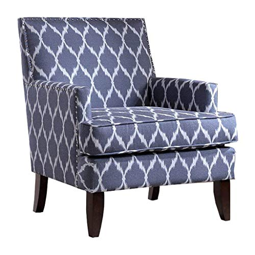 Madison Park Colton Accent Hardwood, Brich Wood, Ogee Print, Bedroom Lounge Mid Century Modern Deep Seating, High Back Club Style Arm-Chair Living Room Furniture, See below, Blue/White