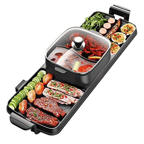Elettrico Barbecue Griglia BBQ Coreano Griglia da Tavola Teppanyaki Piatto Caldo Pentola Pentola Calda Senza Fumo E Antiaderente per Interno Giardino Riunione di Famiglia 6-10 Porzione 2200w