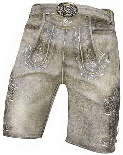 Just Trachten Pantalon en cuir pour homme en daim avec ceinture style bavarois Taille 46-64, gris, 48 bref