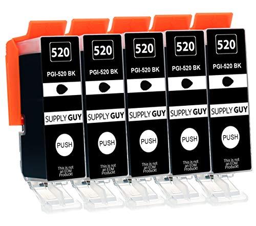 5 Cartuchos de Tinta con viruta Compatible con Canon PGI-520 (Negro) para Canon Pixma IP3600 IP4600 IP4700 MP540 MP550 MP560 MP620 MP630 MP640 MP980 MP990 MX860 MX870