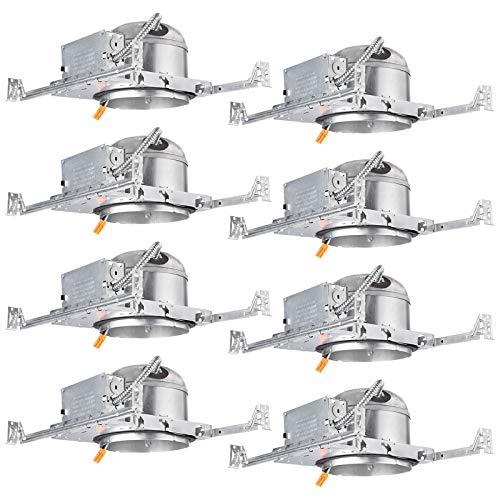 TORCHSTAR 8-Pack 6 Inch Shallow New Construction LED Recessed Housing, IC Rated & Air Tight Ceiling Downlight Can with J-Box, ETL Listed Slim/Narrow New Construction Housing, TP24 Connector