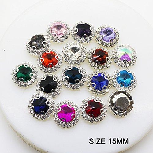 Lot de 30 boutons ronds en acrylique avec strass 15 mm