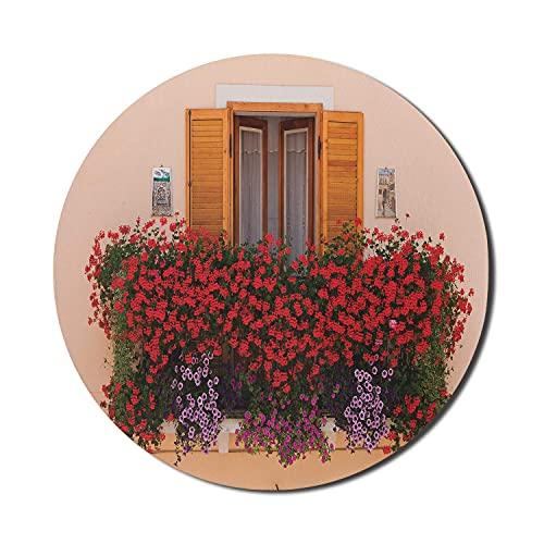 Fensterläden Mauspad für Computer, Foto des Fensters mit frischen Blumen mediterranen Sommer traditionelles Haus, rundes rutschfestes dickes Gummi Modernes Gaming-Mousepad, 8 'rund, rotes Pfirsichgrün