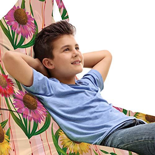 ABAKUHAUS Sonnenhut Unicorn Toy Bag Lounger Stuhl, Botanik-Streifen Blumen, Hochleistungskuscheltieraufbewahrung mit Griff, Mehrfarbig