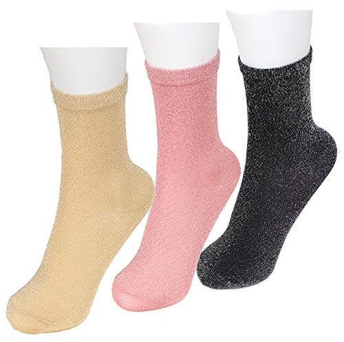 CHEEKY BUSINESS Trendige Feinstrumpf-Söckchen (Größe 38-41): 3er-Set Glitzer Socken Frauen metallic - Nylon Kurzsocken Pack -Sneaker Socken Damen (mix1)