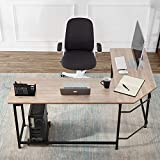 VECELO Modern L-Shaped Corner Computer Desk with CPU Stand/PC Laptop Study Writing Table Workstation for Home Office Wood & Metal,Oak,66'