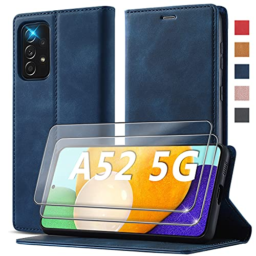 Handyhülle für Samsung Galaxy A52 Hülle mit 2 Stück Panzerglas Schutzfolie [Premium PU Leder] [Kartenfach] [Standfunktion] Flip Hülle Cover Leder Schutzhülle Etui Kompatibel für Samsung A52 Klapphülle