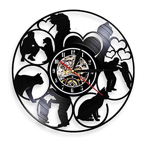 RFTGH Casa para Perros y Gatos Mascotas Jugando Personas Silueta Reloj de Pared Disco de Vinilo Retro Reloj Colgante Personalidad decoración de la Pared decoración del Arte
