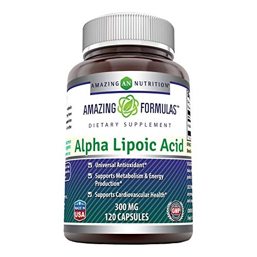 Amazing Formulas Alpha Lipoic Acid * 300mg 120 Capsules Per Bottle (Non-GMO,Gluten Free) * Pure ALA Capsules - Ideal Formulas Supplement for Healthy Weight Management, Athletic Performance & More