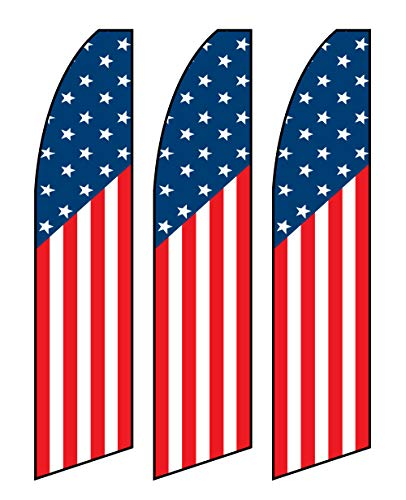 CarBowz EZ Line US American Swooper Feather Flag 15ft Outdoor Sale Flag 3 Pack