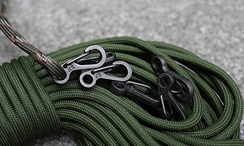 Michael Josh Paracord Keychain S Climbing Carabiners Clip,EDC Gear Backpack Clasps keyring Bottle hook bulk pack for umbrella rope parachute cord for Outdoor Tactical Survival(Black)