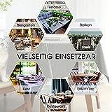 Leinen Optik Tischdecke Wachstischdecke Outdoor Garten Abwaschbar Lotuseffekt Outdoor Tischdecke Garten Tischdecken Terrasse Tischdeko Tischwäsche Küche Gartentisch 140x240 cm Hellgrau - 4