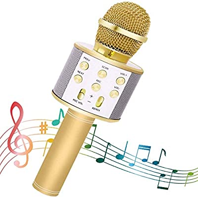 SeeKool Wireless Karaoke Microphone, Portable Bluetooth Speaker, Voice Changer, Superior Audio Quality for Singing, Home Party KTV, Best Gift, Compatible with iOS & Android Smart phone or PC (Gold)