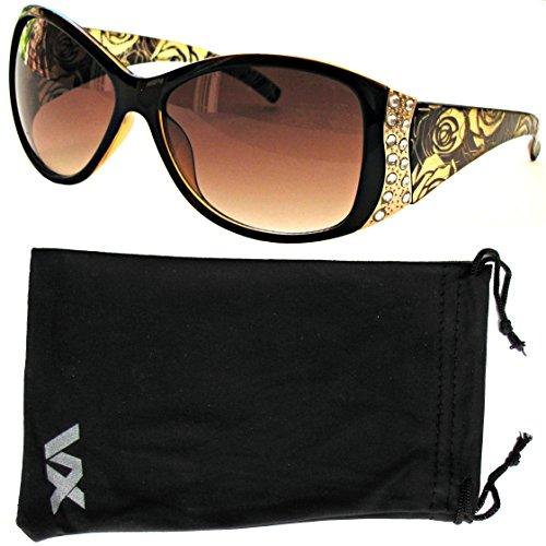 VOX Damen Sonnenbrille Designer Sport Fashion Strass Vintage Floral Brille – Amber-Frame – Amber-Objektiv