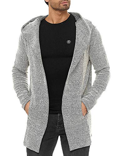 Redbridge Strickjacke für Herren Cardigan Hoodie Mantel Long Cut Beige L