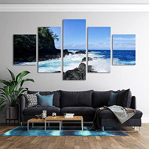 Composición de 5 Cuadros de Madera para Pared Blue Surf Hawaii Ocean Impresión Artística Imagen Gráfica Decoracion De Pared Abstracto 150 * 80cm con Marco