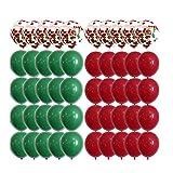 50 Piezas de Globos de Navidad, Globos de Confeti Rojo Verde, Globos de Látex de Navidad, Decoraciones para Fiestas, Cenas de Navidad y Fiestas de Año Nuevo