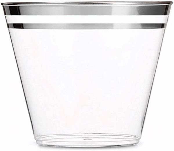 100 Silver Double Rimmed 9 Oz Clear Plastic Tumblers Fancy Disposable Wine Cups Perfect For Holiday Party Wedding And Everyday Occasions