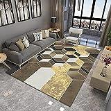 Estéreo 3D marrón Tendencia Pastel Diseño Geométrico Inspiración Multicolor, Alfombra de Moda Estrella Accesorios de Moda, 140X200CM(55X79inch)