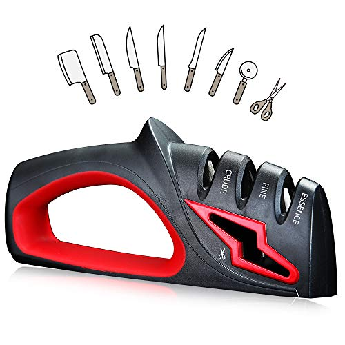 WORTHBUY Knife and Scissors Sharpener, 3-Stage Knife Sharpener, Safe Handle, Kitchen Knife Accessories 4 in 1 Sharpening Device for All Sized Household Knives(Black)