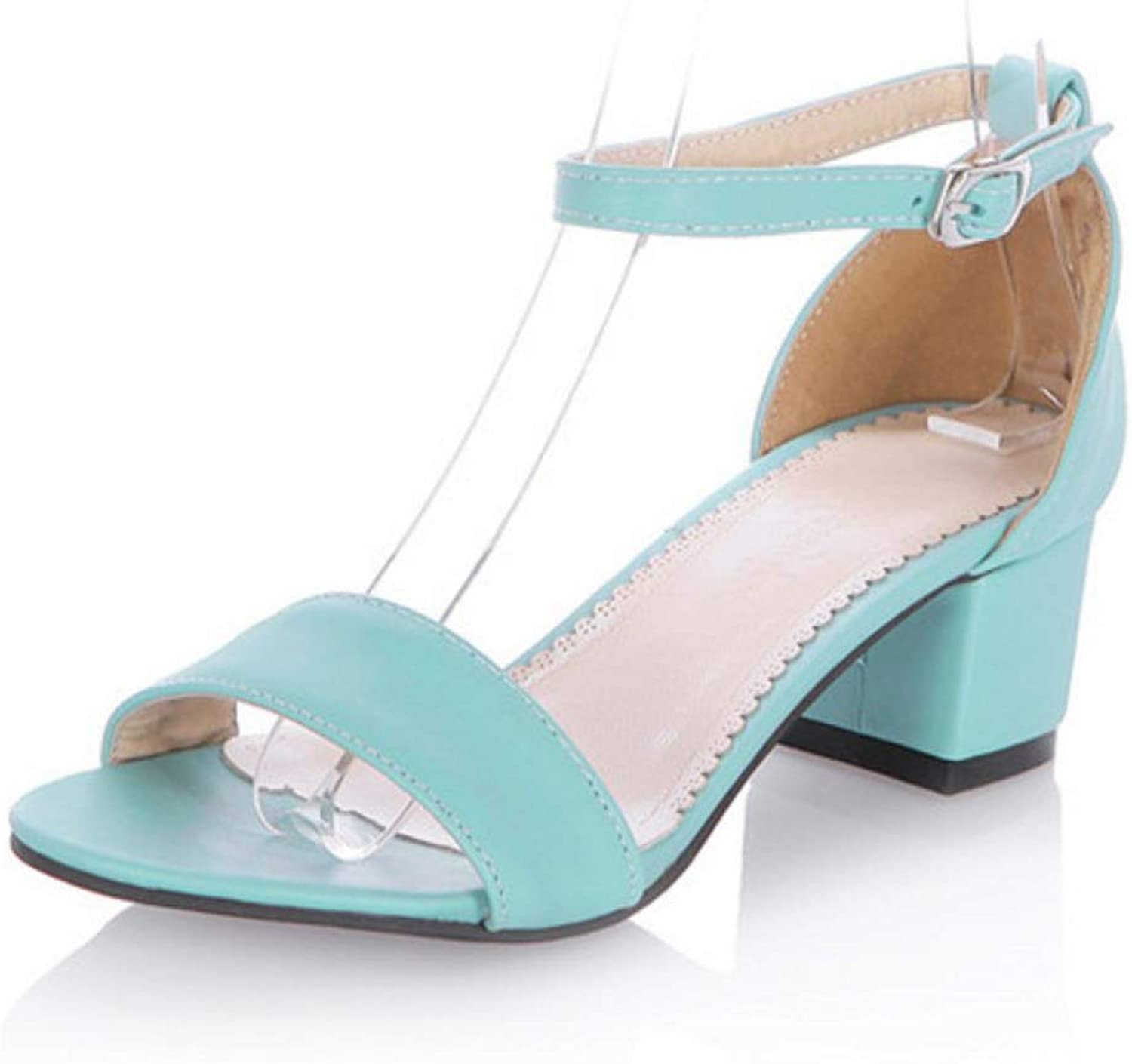 T-JULY Ladies Med Heels Sandals Summer shoes Women Ankle Strap Party Dress Sandals Solid Open Toe Women's Stiletto Heels
