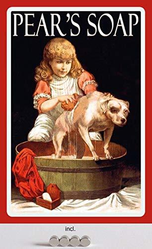 Metalen bord 20 x 30 cm gebogen, incl. 4 magneten Pears Soap zeep bad hond reclame retro reclame decoratief geschenk bord