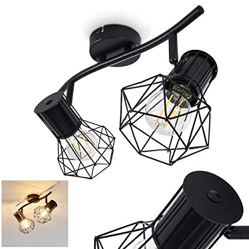 Deckenleuchte Bardhaman, Deckenlampe aus Metall in Schwarz, 2-flammig, 2 x E27-Fassung max. 40 Watt, Spot im Retro/Vintage Design in Gitter-Optik und Lichteffekt an der Decke, LED geeignet