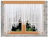 kollektion MT Edler Blumenfenster-Store Nastja weiß 5 Bögen aufwändig eingearbeitete 15cm breite gebogte Fächerspitze Echter Plauener Spitze