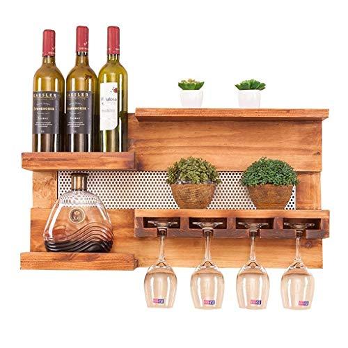 IF.HLMF - Botellero de pared de madera con soporte de cristal, estante de pared multifuncional, madera maciza hecha a mano, soporte para botellas de vino, pino rústico, 28 × 6 × 14,5 pulgadas botellas