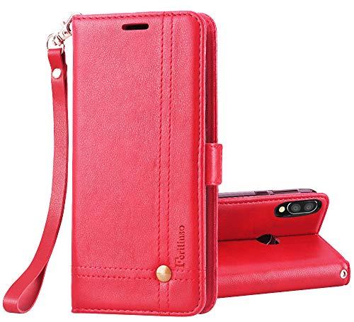 Finskin-Abdeckung für Xiaomi Mi Play, Retro-stilvolle Ledertasche mit Steckplatz für Kreditkarten-Flip-Magnethülle (rot)