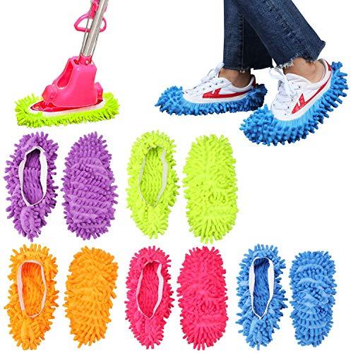 ProLeo 5 Paar Bodenwischer Lazy Slippers Hausschuhe, Staubtuch Putz Pantoffeln Bodenreiniger Mop Wischmop Staubmopp SchuheReinigungspantoffeln