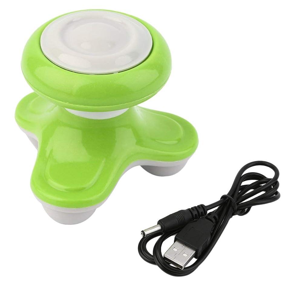 台風鰐ロードされたミニ電動ハンドル波振動マッサージ器USBバッテリーフルボディマッサージ持ち運びに便利な超小型軽量-グリーン