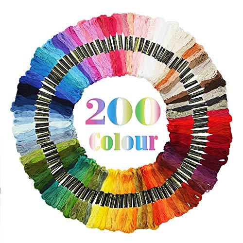 Adkwse Stickgarn,Embroidery Floss Weicher Baumwolle perfekt für Freundschaftsbänder, Stickerei, Kreuzstich (200)