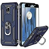 TJS Phone Case Compatible with Samsung Galaxy J7 2018/J7 Refine/J7 Star/J7 Eon/J7 TOP/J7 Aero/J7 Crown/J7 Aura, [Full Coverage Tempered Glass Screen Protector] Metal Ring Magnetic Support (Blue)