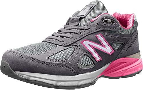 New Balance Women's W990V4 Sneaker, Grey/Pink, 4 UK