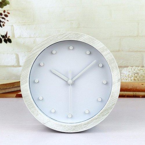reloj de pared,reloj de pared adhesivo,reloj de pared grande,reloj de pared vintage.3D tridimensional atmósfera simple color blanco madera creativo escritorio pedestal reloj reloj de pared