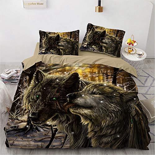 NEWAT Funda de edredón para niños con estampado de lobo 3D, funda de edredón súper suave, juego de cama de lobo con cierre de cremallera para decoración de ropa de cama de niños (B,200 x 200 cm)