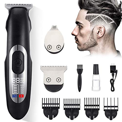 Hair Clippers for Men Professional, Liaboe Cordless Trimmer Rechargeable with 2 Different Size Barber Blade Head for Hair Design, Hair & Beard Cutting Kit with LCD Display, Guide Combs, Brush(Red)