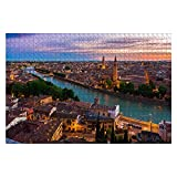 1000 piezas de vista aérea de la puesta de sol de Verona, Italia, imágenes de stock de la ciudad del agua, rompecabezas de piezas grandes para adultos, juguetes educativos para niños, juegos creativos