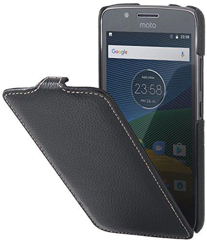 StilGut UltraSlim Case Hülle Leder-Tasche für Lenovo Moto G5. Dünnes Flip-Case vertikal klappbar aus Echtleder für das Original Lenovo Moto G5, Schwarz
