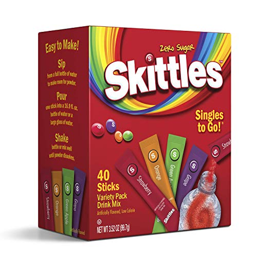 Skittles Singles To Go Variety Pack, 40 Count, Powdered Drink Mix, Zero Sugar, Low Calorie, Includes 4 Flavors: Green Apple, Strawberry, Grape, Orange, 40 Total Servings