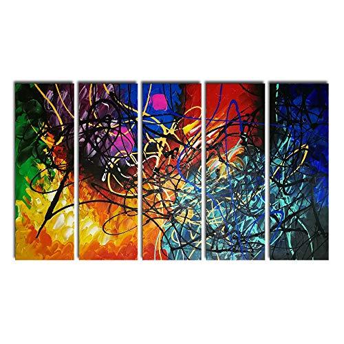 Wieco Art 5-teiliges Ölgemälde, abstraktes Herz, Reproduktion auf Leinwand, Wanddekoration, fertig zum Aufhängen, für Zuhause, Büro, Dekoration, extra groß, modern, 100 % handgefertigt, zeitgenössischer, impressionistischer Kunstdruck, canvas, multi, 8x24inchx5pcs (20x60cmx5pcs)
