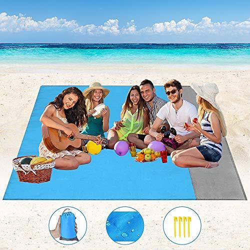 Stranddecke Picknickdecke Wasserdicht Strandmatte Campingdecke - Anti Sand Picnic Blanket 200x210 cm mit 4 Befestigung Ecken, Ultraleicht Stranddecke für Strand, Picknick, Camping, Reisen
