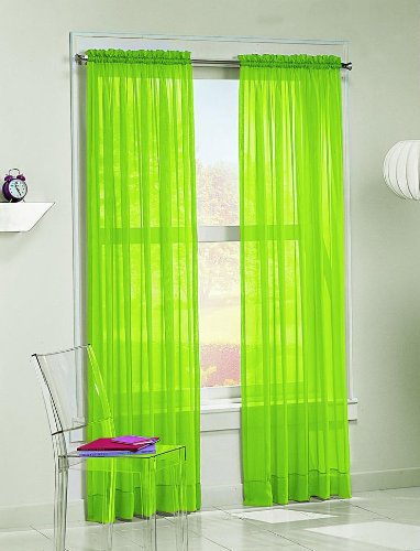 2 Pieces Beautiful Elegance Fully Stitched Window Sheer Voile Curtain Panel (Lime Green)