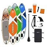Arebos SUP Board | Stand up Paddling | Surfboard | 300 cm | aufblasbar | Double-Layer | Alu-Paddel | Hochdruck-Pumpe | Transportrucksack | 135kg Tragkraft | Orange