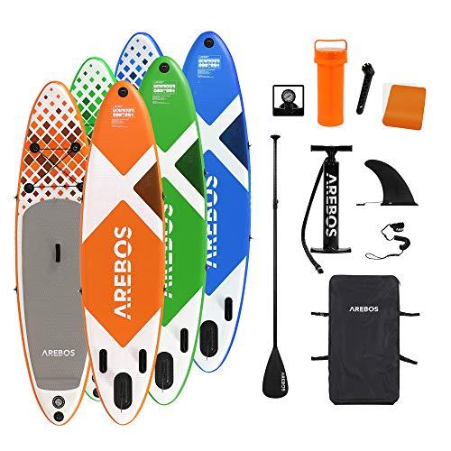 Arebos SUP Board   Stand up Paddling   Surfboard   300 cm   aufblasbar   Double-Layer   Alu-Paddel   Hochdruck-Pumpe   Transportrucksack   135kg Tragkraft   Orange